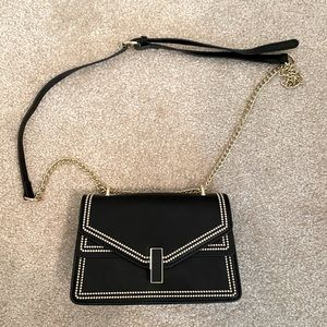 Black and gold crossbody bag